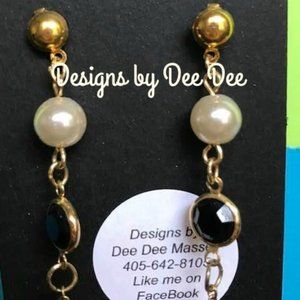 Gold Tone Pearl & Rhinestone Drop Earrings
